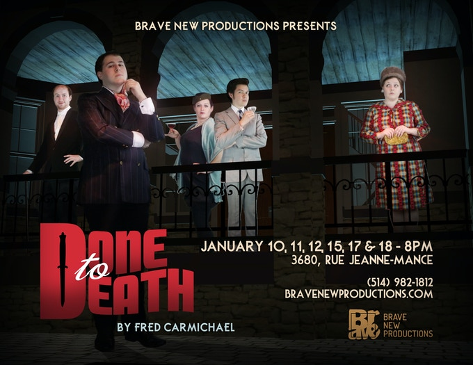 """The Cast of """"Done to Death"""" (left to right): Bryan Librero (as Rodney Duckton), Zachary Brown (as Brad Benedict), Stephanie McKenna (as Jessica Olive), Sean Curley (as Whitney Olive), and Emma McQueen (as Mildred Z Maxwell)"""