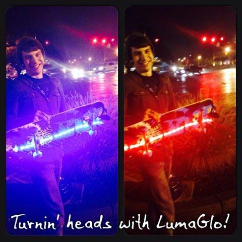 LumaGlo on a skateboard