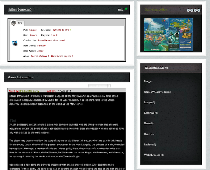 Current look of a game wiki article. We want to increase the size of text to make it more readable, and also make many improvements to the graphics.