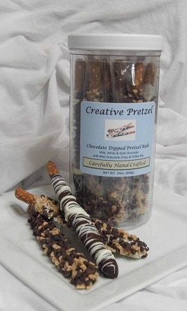 Chocolate Dipped Pretzel Canister