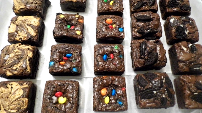 Peanut Butter Swirl, M&M and Oreo Brownies