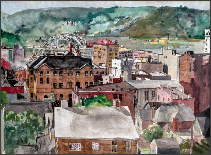 "McKeesport, 1969, watercolor on paper, 20x24"""