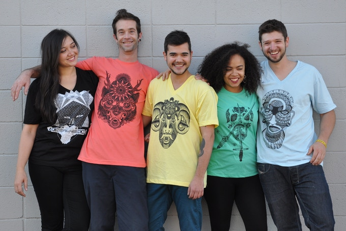 My friends and I model some of the great Gods and Demons T-shirts you can choose as donor rewards.