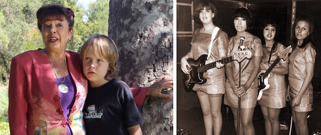 Lady Arlene with grandson Carson on location. Arlene at 13 (3rd from left) in one of the first all-girl Rock n' Roll bands, the Jaggz.