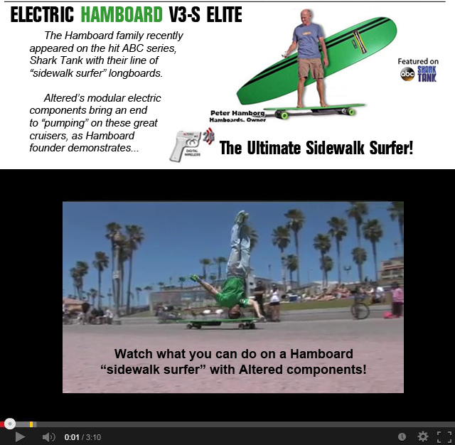 Chris Chaput, founder ABEC 11, demonstrates the Altered Electric Hamboard on the Huntington Beach Boardwalk. (click to view video http://bit.ly/HmmMNu)