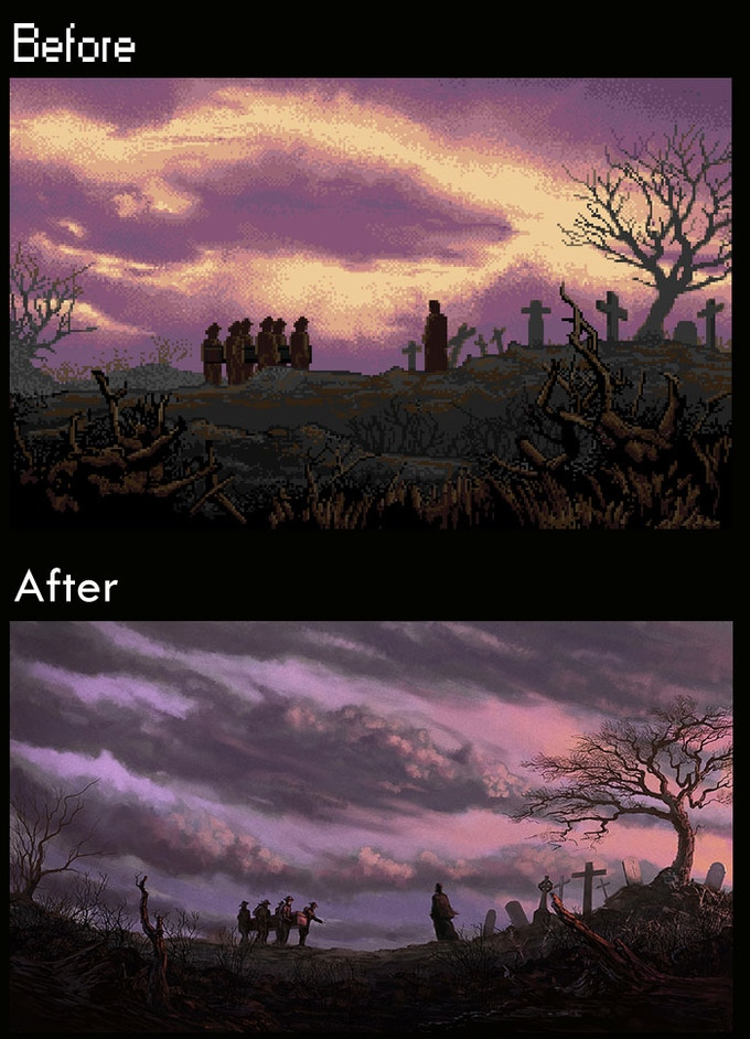 Before and after example of in-game artwork