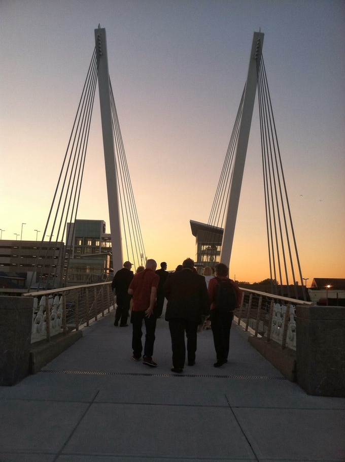 New pedestrian walking bridge at the Wonderland MBTA stop that connects to Revere Beach.