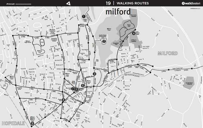 WalkBoston's Milford community walking map with 5 minute increments to promote healthy walking habits.