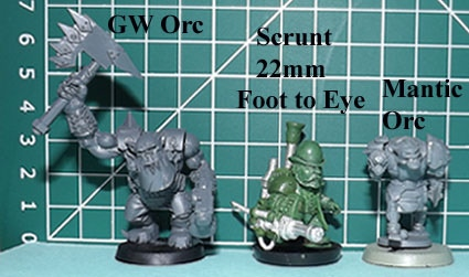 Steampunk scrunt shown alongside a GW Orc and Mantic Orc. © Games Workshop 2003 & Mantic. All rights reserved. Used without permission, no infrindgement of copyright intended, shown for size comparison only