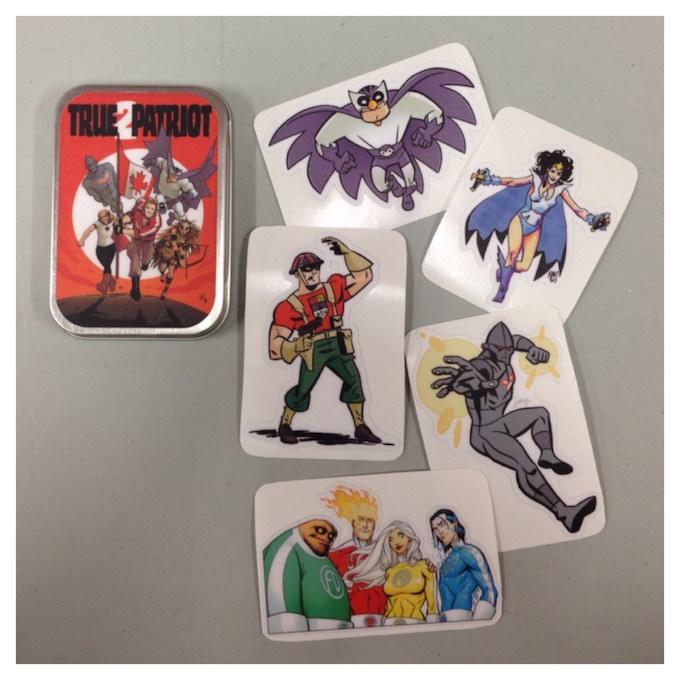 True Patriot Sticker Set featuring 6 contoured decals with art by Chantler, Bone, Fowler, Gorham, Levins, Salas (not pictured), and Stephens