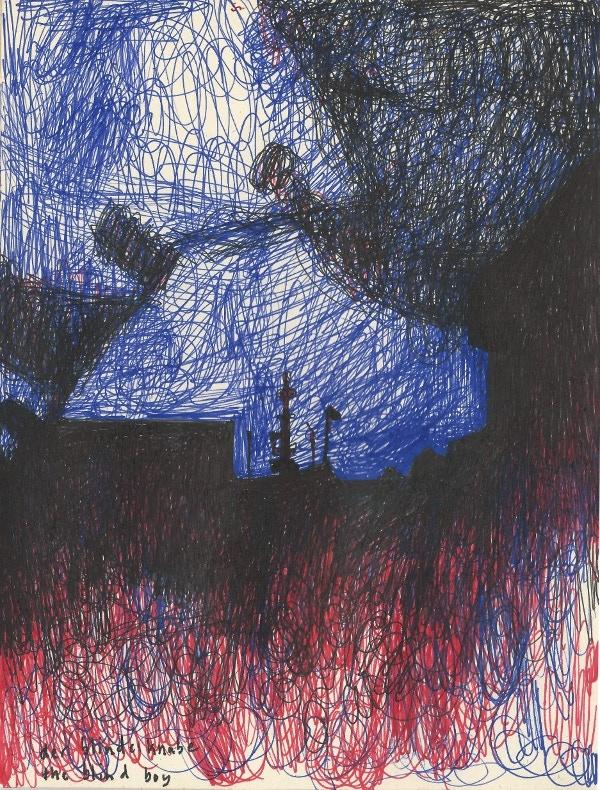 Phill Hopkins 'Der Blinde Knab' (Ink on found paper, 21 x 15.9 cm) 2013
