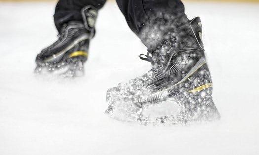 Launch Skates kicking up snow - photo by Andrej Kopac for PopSci.  Launch Kickstarter video image - rendering by PopSci.