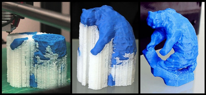 Dual material print on Helix.  Blue ABS with limonene soluble HIPS support.