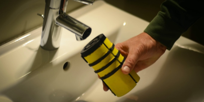 Hydrobee Turbine Battery will attach to most faucets and charge up while water runs