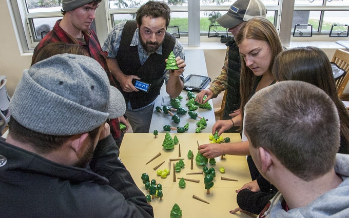 University of MT Forestry Professor Andrew Larson uses a 3D printed forest in class.  Printed on Helix in ABS and acetone vapor treated.  Photo credit: Todd Goodrich