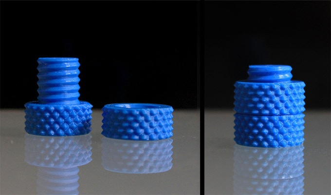 Knurled Nut & Bolt printed on Helix in Blue ABS
