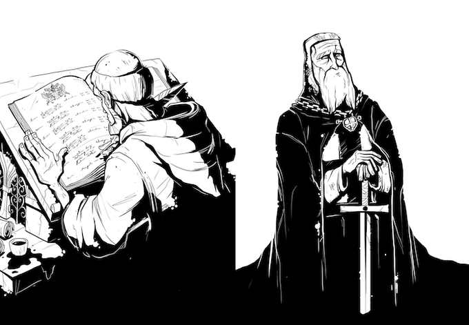 The Archivist and Temple Grandmaster.  King Phillip's goal is to find them so that his team can win the hand.