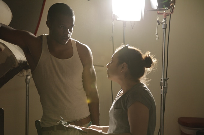 Darious Britt and Christina Marafino on set (Cooper James)