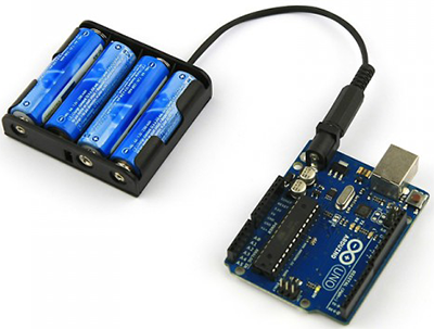 Battery pack would look similar to this, and would probably have a cover and fit nicely under the Arduino.