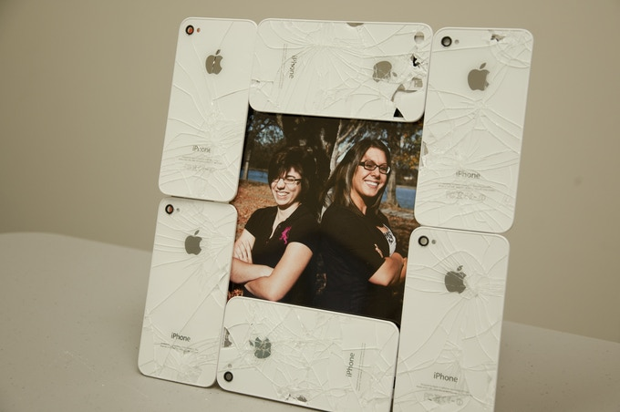 Shattered White iPhone Back Glass Picture Frame
