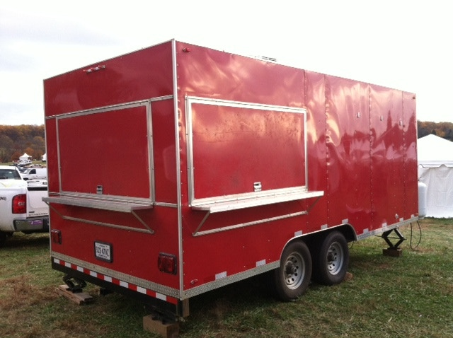 Fully outfitted commercial kitchen on wheels.