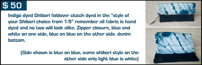 $ 50 reward - Shibori and denim Clutch