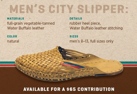 6361e1f0c7e The Men s and Women s City Slippers are available for a  65 contribution.  The Men s and Women s Heirloom City Slippers are available for a  95  contribution.