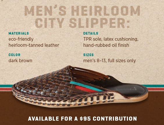 7bd5b259252b The Men s and Women s City Slippers are available for a  65 contribution.  The Men s and Women s Heirloom City Slippers are available for a  95  contribution.