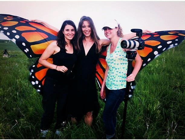 Moving for Monarchs team members Gabriella Garcia-Pardo, Gwynedd Vetter-Drusch, and Jaime Schirmer after an exciting (and windy!) two days filming on the Konza Prairie.