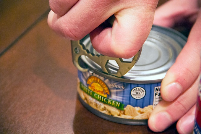 Open cans without a pull-tab easily.