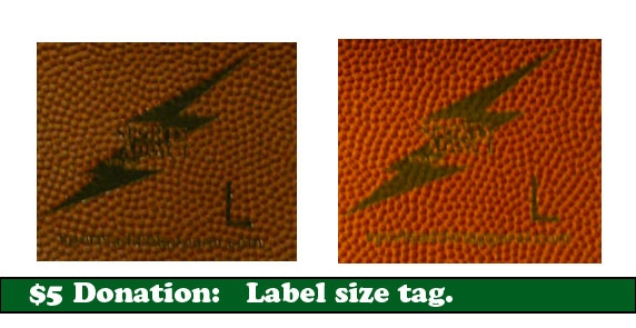 Our custom sports textured size label. S,M,L,2XL,3XL