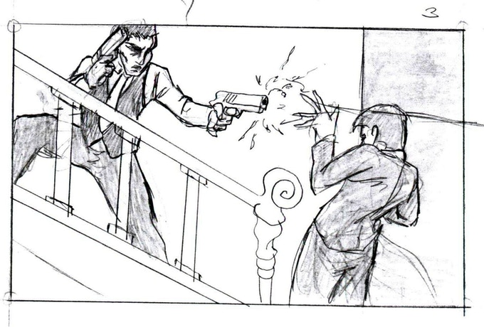THE ASSASSIN IS RUNNING DOWN THE STAIRS, SHOOTING.