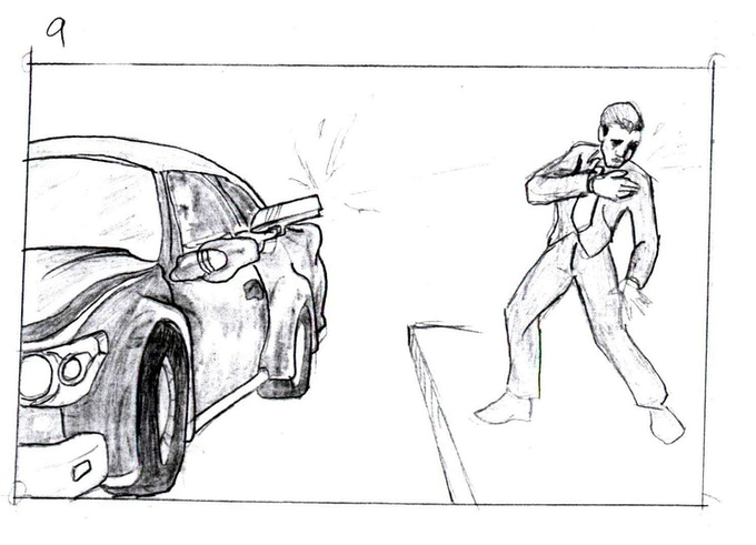 THE MAIN BOSS MOBSTER'S ASSASSIN SHOOTS THE HERO IN THE CHEST, WHILE SPEEDING AWAY.