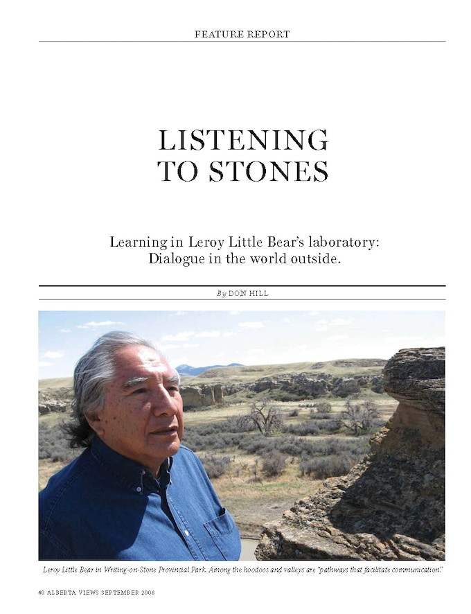 """Leroy Little Bear talks about """"songs in the land."""" Click on this link to download the magazine story."""