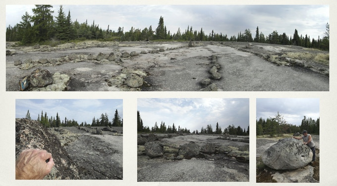 Sonic landscape architecture marked by old stones in the Manitoba back country.
