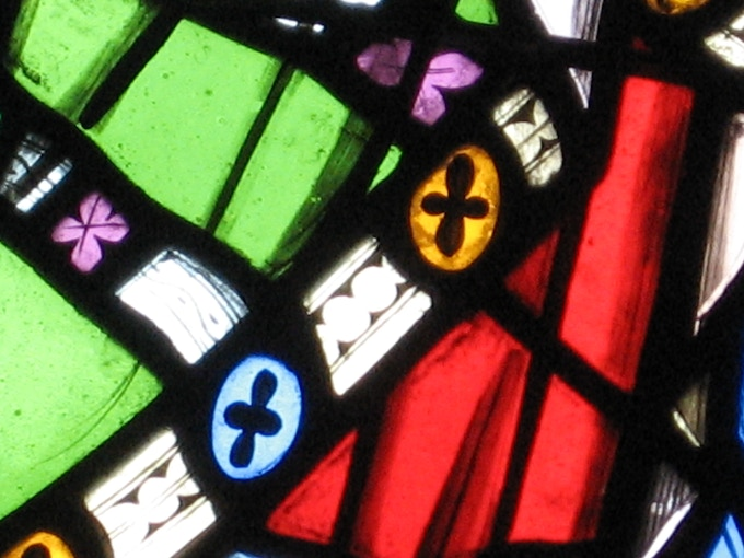 Detail from the pre-Reformation stained-glass window in Watrous, Saskatchewan.