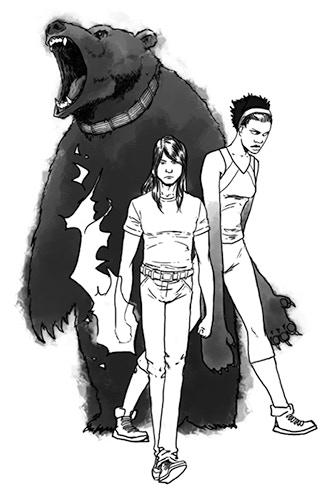 Baloo, Mowgli, and Bagheera, by Steven Sanders