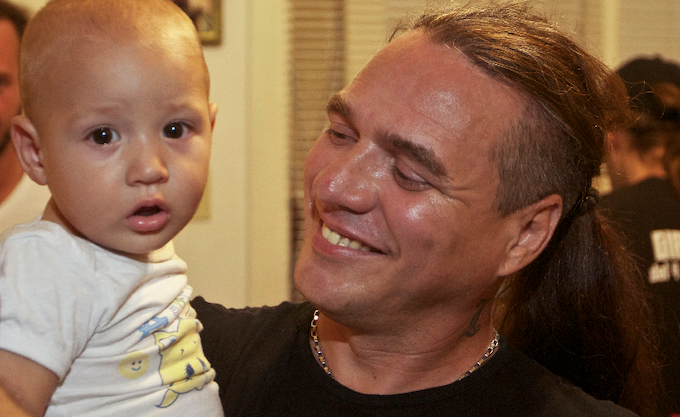 Diony and his son, Dionisio Jr. at their home in Havana
