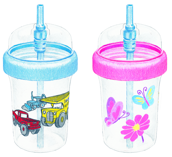 Snappy Straw™ Cup Sketch - Blue Trucks style and Pink Butterflies style. Choose one style for this reward.