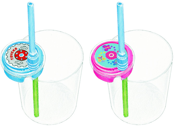 Sip & Spin™ Straw on Drinking Glass Sketch - Blue Trucks style and Pink Butterflies style. Choose one style for this reward. Drinking glass not included.