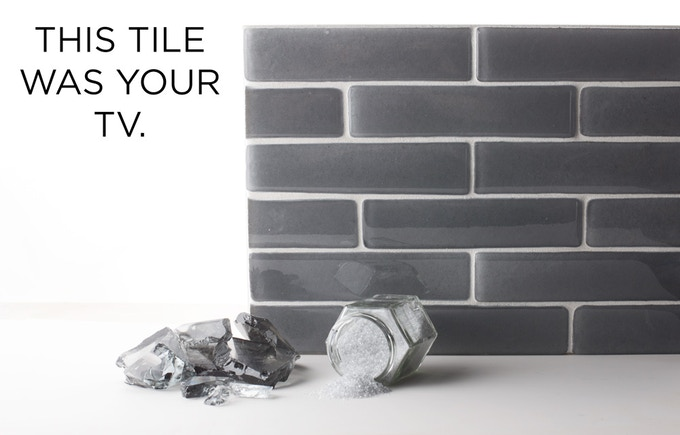 This tile is recycled CRT glass. Made from your TV or computer.