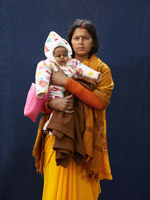 Pilgrim Mamta Dubey & Infant Child - winner of 2nd Prize, the Taylor Wessing Photographic Portrait Prize, on view at the National Portrait Gallery, London until February 9th 2014