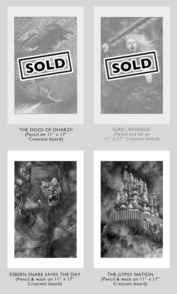 (above) Original Art Selections Available at the ELRIC CINCO level