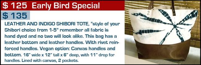 $ 125 - $135 Reward Indigo and Leather Tote