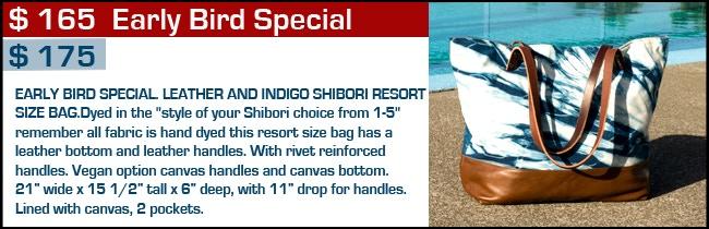 $ 165 - $ 175 Reward - Indigo and Leather Resort Size Bag