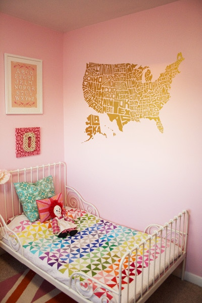 The Stately Type US Map Vinyl Wall Decal (in gold)