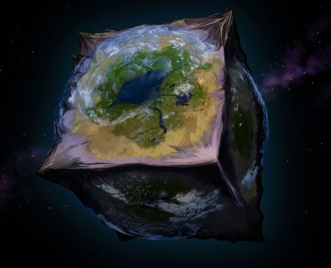Artist's rendition of a cube planet from National Geographic