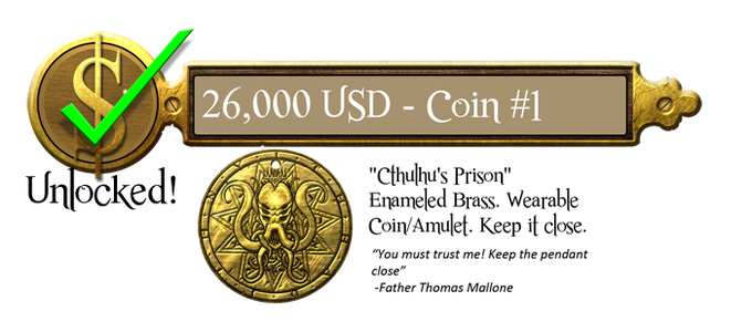 "26k - Cthulhu's Prison Coin 1.5"" Brass Coin - Unlocked"