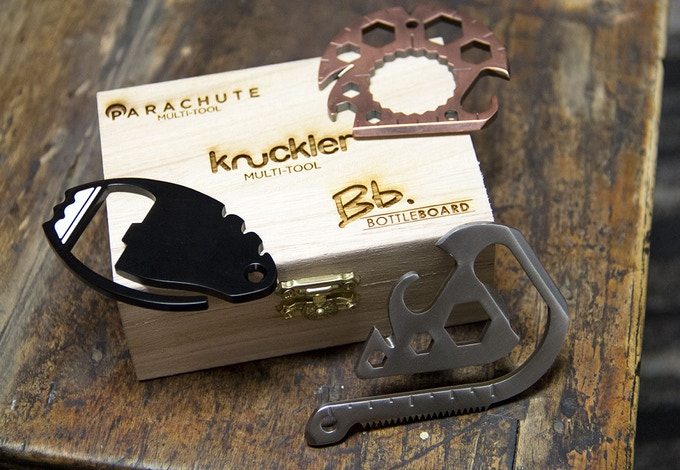 All $69+ pledges come in a laser engraved wooden display box with the Knuckler, Parachute and Bottle Board. Perfect gift idea!