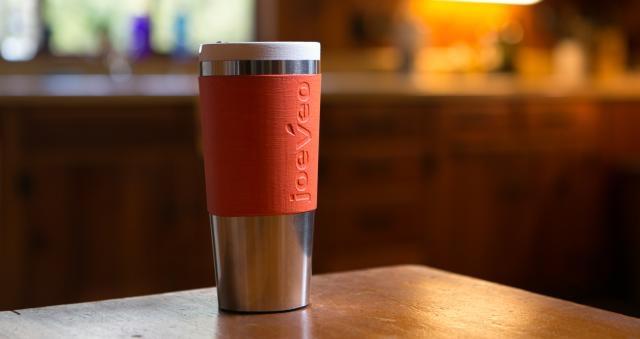 a 3-D printed model of the mug, with stainless steel veneer
